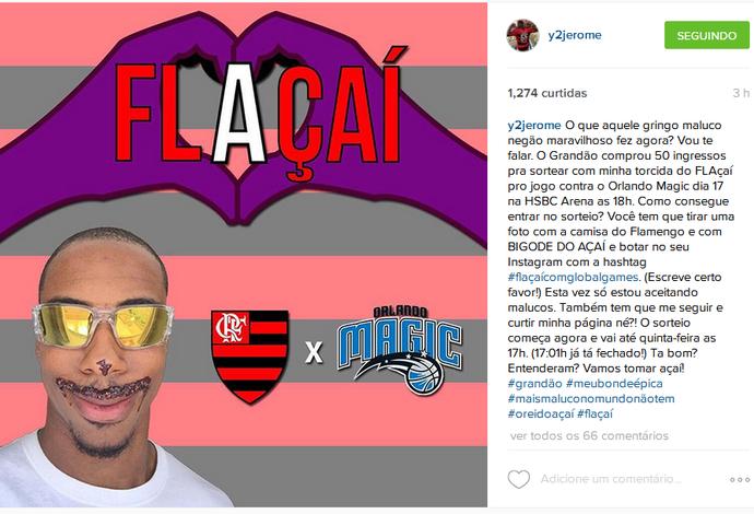 Meyinsse faz campanha para levar torcedores ao jogo do Flamengo com o Orlando Magic (Foto: Reprodução/Instagram)