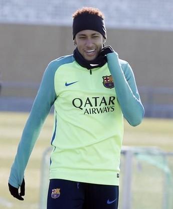 Neymar animado no treino do Barcelona nesta quarta-feira (Foto: Miguel Ruiz / FC Barcelona)