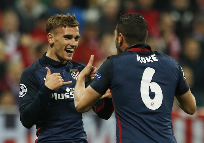 Griezmann e Koke Bayern de Munique x Atlético de Madrid (Foto: Reuters)