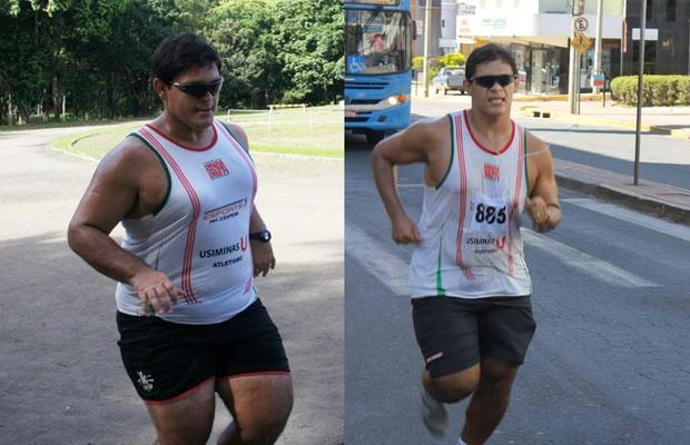 No começo do ano (à esq.),  Alain retomou os treinos de atletismo. Ele já conseguiu perder novamente 30kg (Foto: Arquivo pessoal)