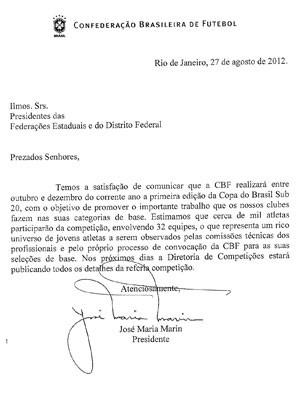 Oficio da Copa do brasil sub-20 (Foto: Reprodução)