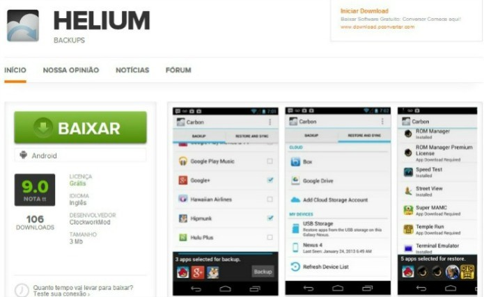 Faça o download do Helium (Foto: Reprodução/ Lucas Torres)