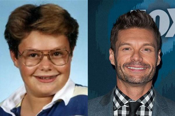 Ryan Seacrest está irreconhecível comparado ao estilo nerd que apresentava em sua época de colégio  (Foto: Reprodução e Getty Images)