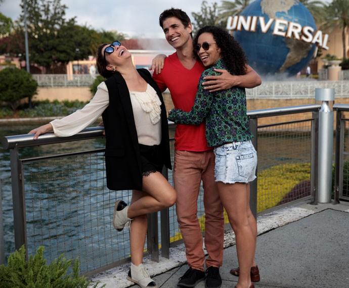 Reynaldo Gianecchini, Fabíula Nascimento e Thalita Carauta no Universal Orlando Resort (Foto: Marcos Mazini/Gshow)