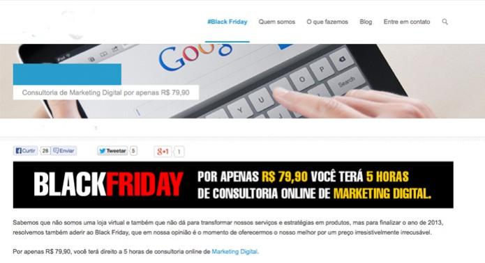 45767664ca Agência de marketing digital oferece cinco horas de serviços na Black Friday  (Foto  Reprodução