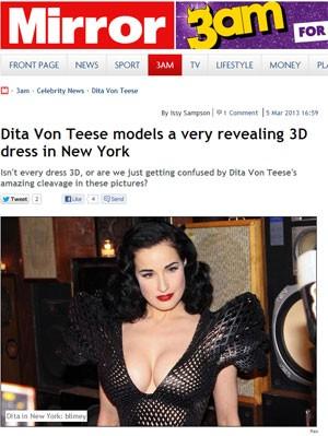 Jornal inglês 'The Mirror' mostrou imagem do vestido 3D usado por Dita Von Teese (Foto: Divulgação)