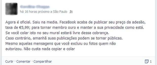 Mensagem falsa diz que Facebook vai cobrar por privacidade dos usuários (Foto: Reprodução/Facebook)