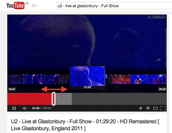 Navegando entre os frames de um vídeo do YouTube (Foto: Reprodução/Marvin Costa)