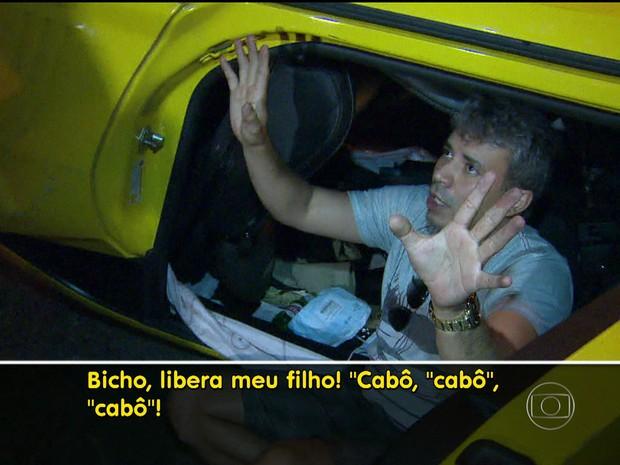 Motorista insistia que havia uma criança dentro do veículo na hora do acidente (Foto: Reprodução / TV Globo)