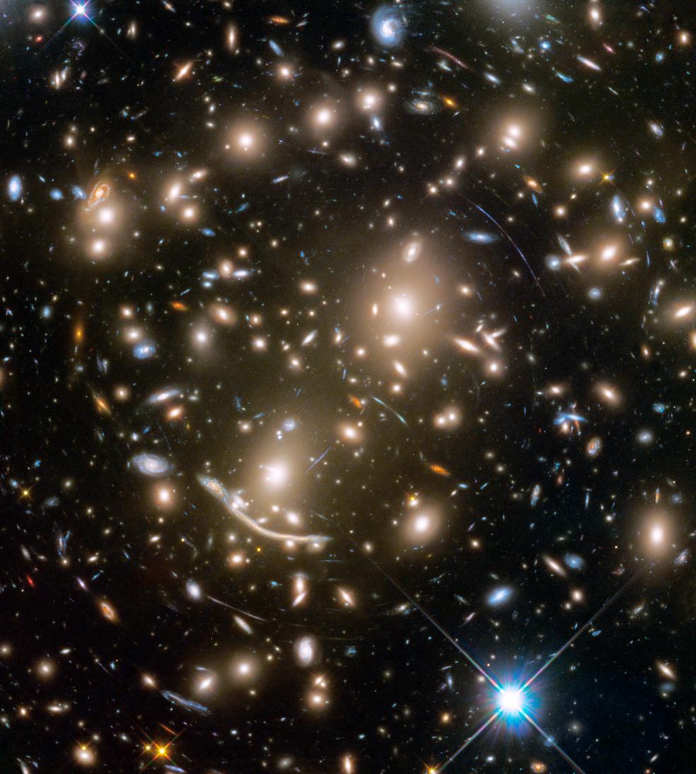 Abell 370: aglomerado de galáxias elípticas (Foto: NASA, ESA, and J. Lotz and the HFF Team (STScI))