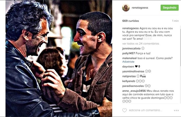 Renato Góes lamenta Domingos Montagner (Foto: Reprodução/Instagram)