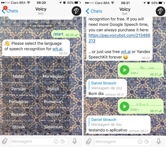 Os usuários podem transformar gravações em áudio em textos com o @voicybot (Foto: Reprodução/Daniel Ribeiro)