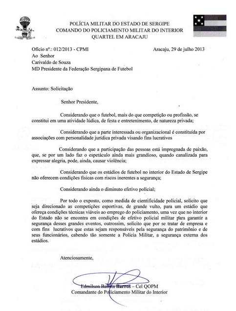 PM encaminha ofício para FSF (Foto: Reprodução)