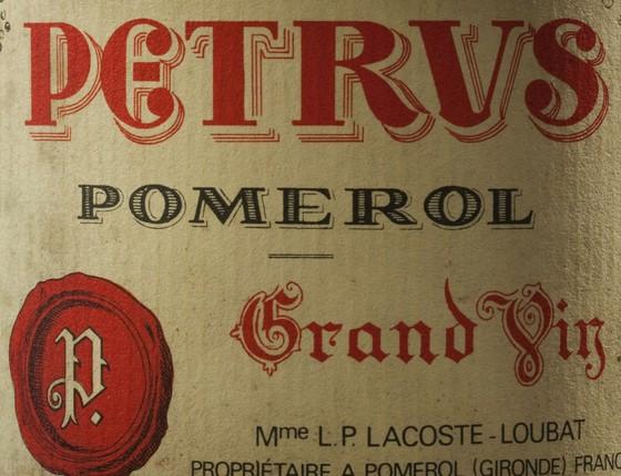 Rótulo do vinho Château Petrus, de Bordeaux, que constava da adega do ex-presidente (Foto: Reprodução)