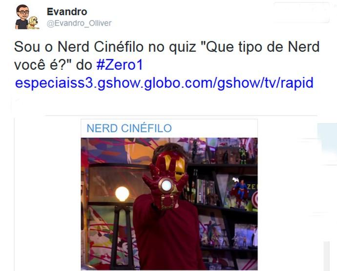 Internauta comenta sobre o teste nerd do 'Zero1' (Foto: Reprodução da Internet)