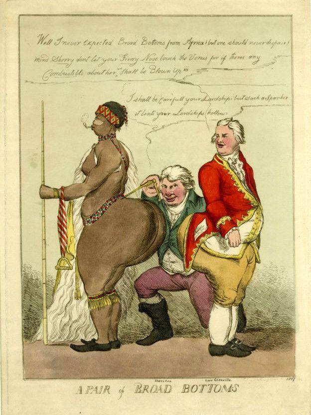 Charges políticas foram feitas com figura de Baartman  (Foto: British Museum/BBC)