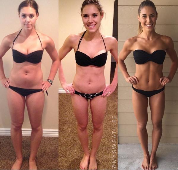Kelsey Wells com 65,7kg, 55,3kg e 63,5kg (Foto: Reprodução Instagram)