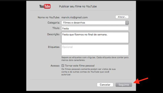 Definindo os dados do vídeo que será postado no YouTube através do Quicktime do Mac OS (Foto: Reprodução/Marvin Costa)