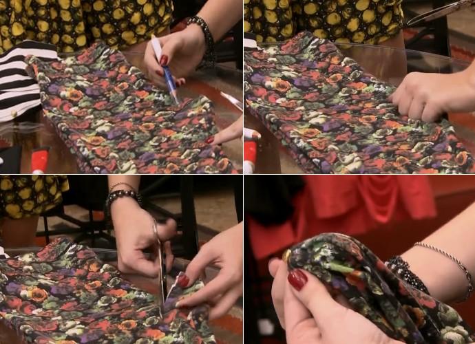 Bruna Porto ensina como transformar legging em blusa no É de casa (Foto: TV Globo)
