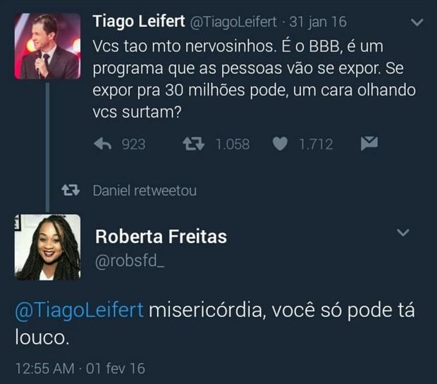 Tiago Leifert e Roberta Freitas já tiveram uma treta no Twitter (Foto: Reprodução/Twitter)