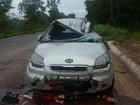 Em Várzea da Palma, carro de família capota e quatro pessoas ficam feridas