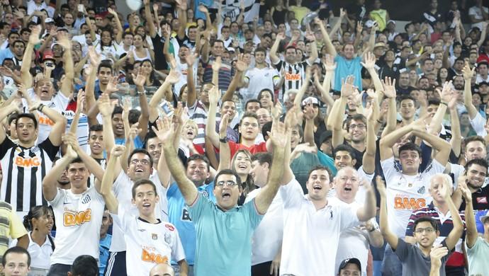 Torcida vibra com lance do jogo entre Mixto e Santos (Foto: Christian Guimarães)