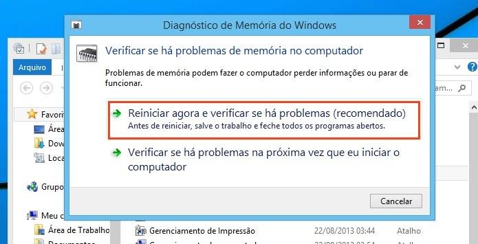 Ferramenta Diagnóstico de memória do Windows (Foto: Reprodução/Edivaldo Brito)