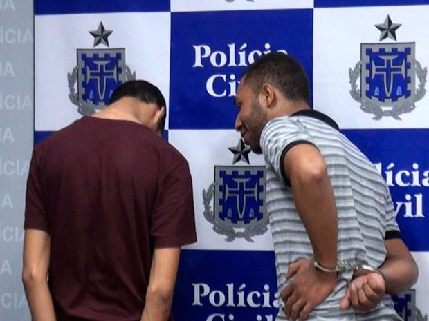 Jovens presos por crimes de saidinha bancária em Salvador (Foto: Imagem/G1 BA)