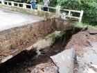 Após chuva, ponte  passa por obras (Divulgação/Governo do estado)