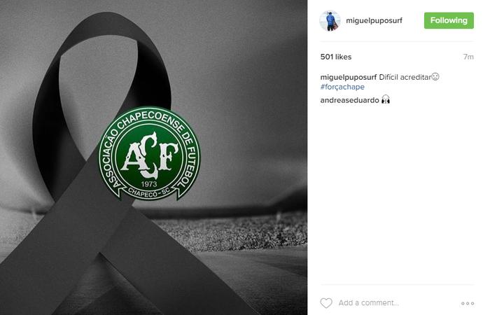Miguel Pupo presta homenagem à Chapecoense (Foto: Reprodução Instagram)