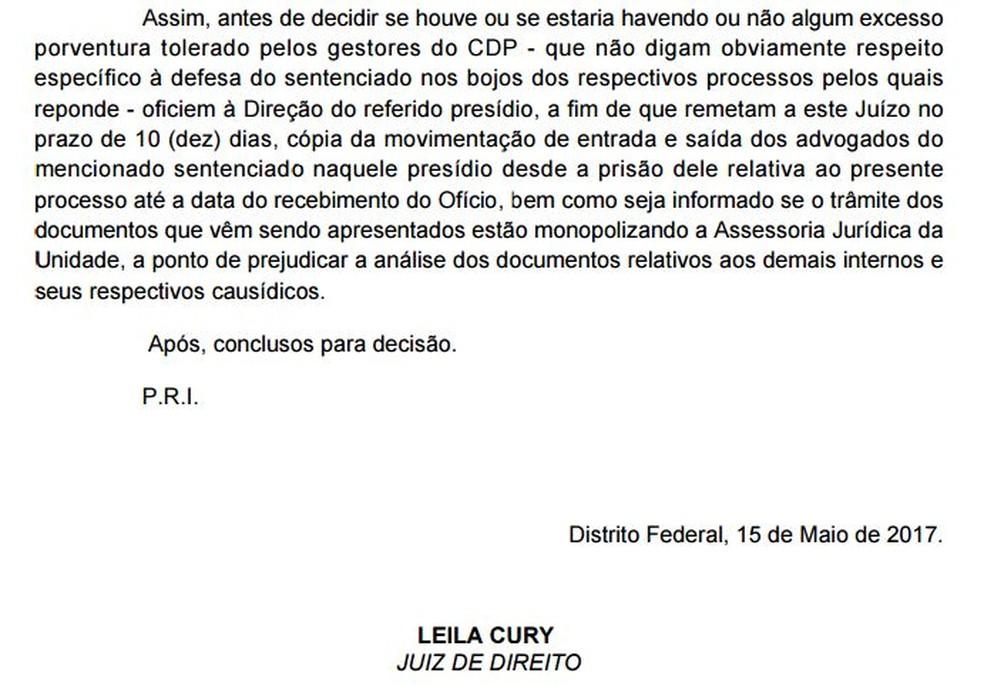 Trecho da decisão da juíza Leila Cury que manda Papuda entregar registros de acessos de advogados de Luiz Estevão (Foto: Reprodução)