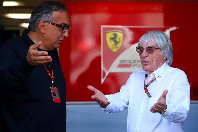 Sergio Marchionne e Bernie Ecclestone durante o GP da Itália (Foto: Getty Images)