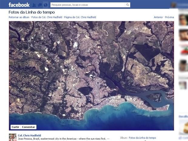 Imagem postada em redes sociais mostra as cidades de João Pessoa e Cabedelo (Foto: Reprodução/Facebook/Col. Chris Hadfield)