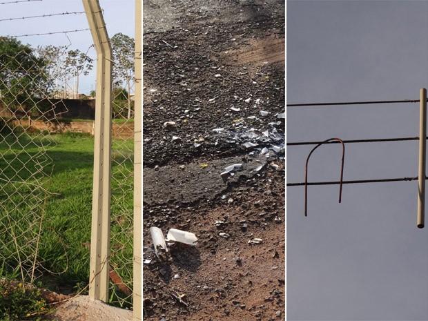 Garotos estragaram cerca da Associação de Moradores, quebrou lâmpadas na rua e atirou pedaços de ferro contra fiação elétrica em Ribeirão Preto (Foto: Suzana Santiago/Associação de Moradores)
