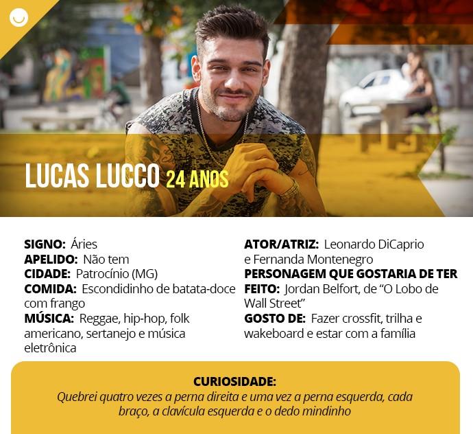 Card com informações curiosas de Lucas Lucco (Foto: Gshow)