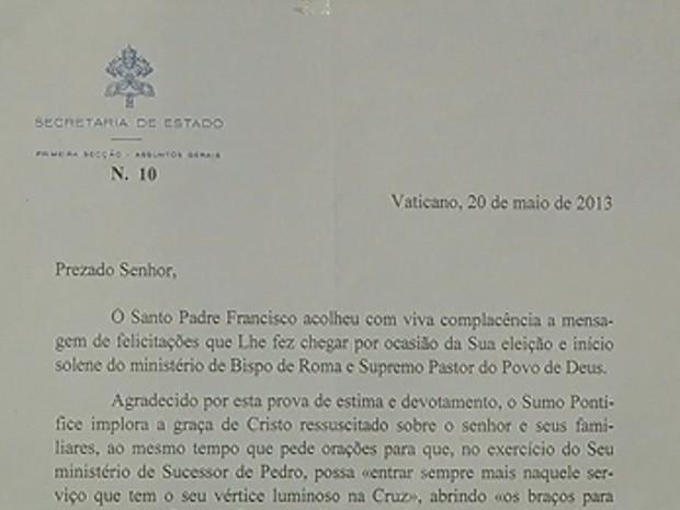 G1 Morador De Votuporanga Envia Carta E Recebe Agradecimento Do Papa Not Cias Em Rio Preto E