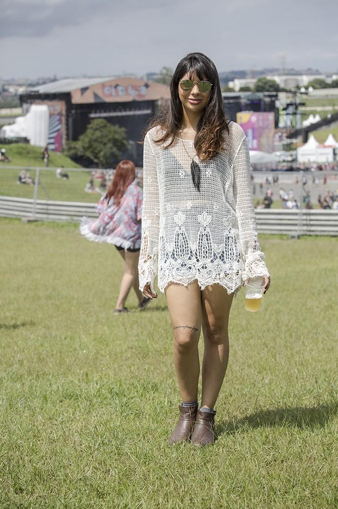 Renda e bota têm tudo a ver com o clima do Lollapalooza (Foto: Raphael Dias/Gshow)