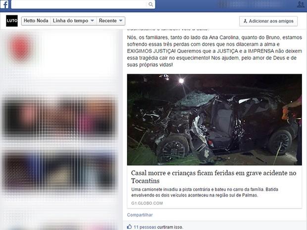 Tio de Ana Carolina representou a família ao pedir por justiça em rede social (Foto: Reprodução/Facebook)