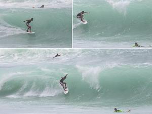 Fabrício parecia dominar a onda antes de cair e se afogar (Foto: Arquivo pessoal/Jorge Porto)
