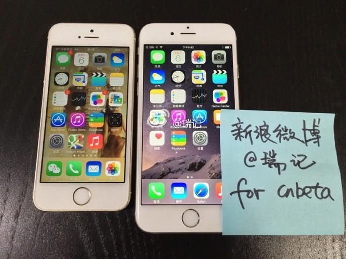 iPhone 5 e suposto iPhone 6 lado a lado em foto vazada (Foto: Reprodução/9to5Mac)