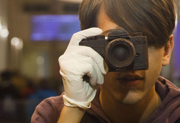 Chocalate no formato de câmera fotográfica impressionou. (Foto: Carlo Hermann/AFP)