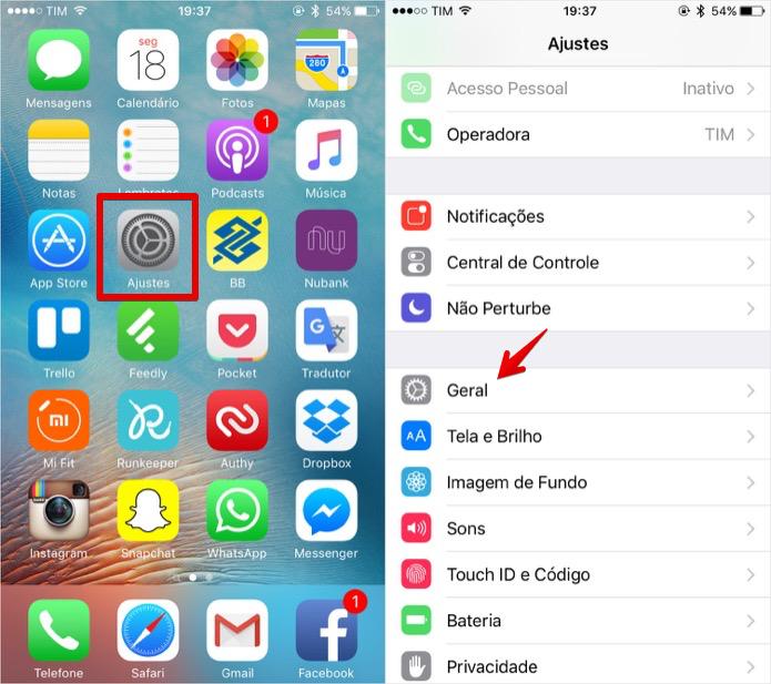 Acesse as configurações do iPhone (Foto: Reprodução/Helito Bijora)