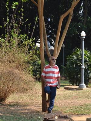 Paulo Pedrazi cultiva as mudas das árvores no quintal de casa em Ribeirão Preto, SP (Foto: Fernanda Testa/G1)