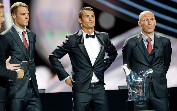 Neuer, Cristiano Ronaldo e Robben - melhor jogador da europa uefa (Foto: Reuters)