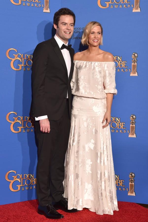 Kristin Wiig e Bill Hader riram de um entrevistador (Foto: Getty Images)