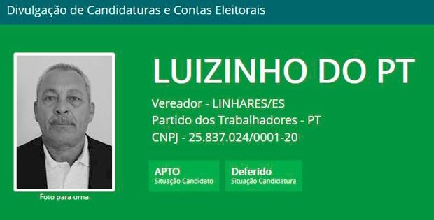 Luizinho do PT, candidato a vereador de Linhares (Foto: Reprodução/ Divulgacand)
