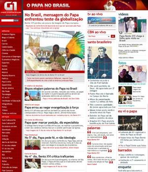 G1 fez cobertura completa da visita do Papa em 2007 (Foto: Reprodução)