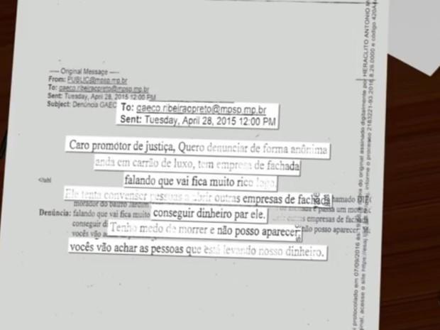 Denúncia ao Gaeco foi feita por e-mail por morador (Foto: Reprodução/EPTV)