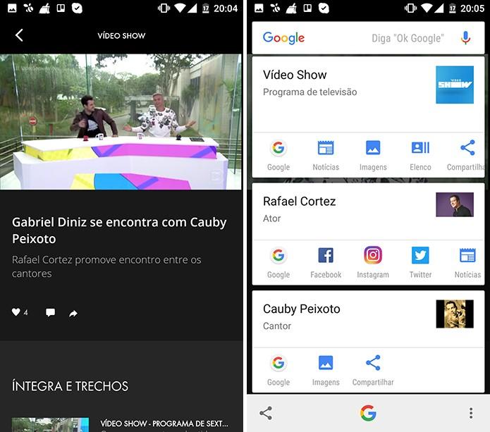 Google Now a um toque pode vasculhar Globo Play (Foto: Reprodução/Elson de Souza)
