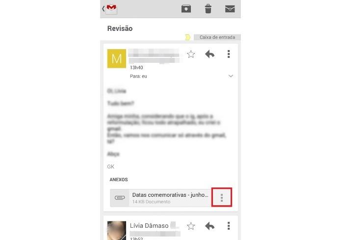Mensagem com anexo no aplicativo do Gmail para Android(Foto: Reprodução/Lívia Dâmaso)